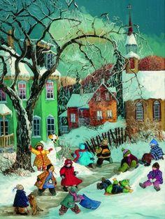 PaulinePaquin QuebecArtist WinterFun Ravenbsurger JigsawPuzzles thousand pieces jigsaws puzzels winterfun