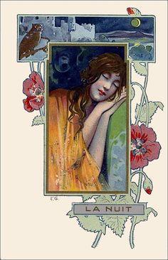 Art Nouveau Postcard La Nuit