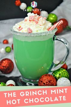 The Grinch Mint Hot Chocolate will warm your heart this holiday season. The Grinch Mint Hot Chocolate will warm your heart this holiday season. Creamy Hot Chocolate Recipe, Best Hot Chocolate Recipes, Cocoa Recipes, Homemade Hot Chocolate, Coffee Recipes, Mint Recipes, Christmas Drinks, Holiday Drinks, Christmas Baking