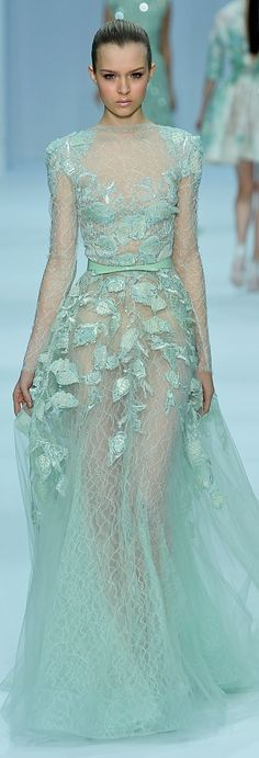 Elie Saab Couture mint aqua sea foam green evening gown
