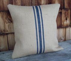 Natural Burlap Grain Sack Pillow Cover with Hand Painted Navy Blue Stripes 18 x 18 - Other Colors Available - Rustic Pillow Cover $36
