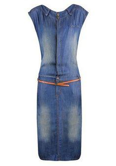 Blue Belt Round Neck Below Knee Denim Dress