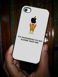 Legend of Zelda Link Holding Apple Dangerous white - for iPhone 4 case iphone 4S case iPhone 5 Case iphone 4/4s/5 Case Hard Cover. $15.75, via Etsy.