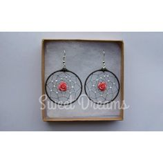 Large dream catcher earrings with glass beads