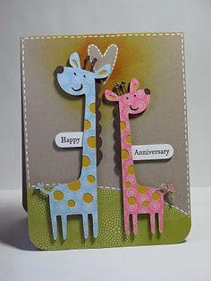 handmade card ... Create a Critter cut giraffes from Cricut cartridge ... super cute ... pink and blue ...