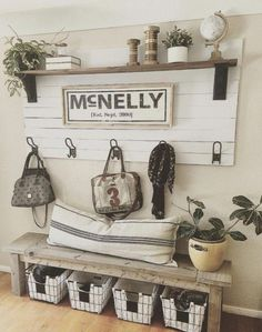 30 beautiful farmhouse living room decor ideas 18 « Home Decoration Rustic Entryway, Rustic Decor, Entryway Bench, Entryway Ideas, Bench Decor, Entrance Ideas, Country Decor, Entryway Storage, House Entrance