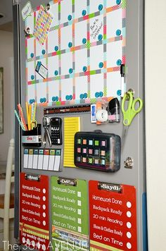 DIY Back To School Station: Have homework supplies handy and organized on the side of the fridge. Back to school easy!