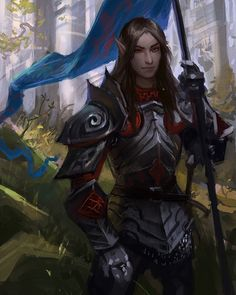 f High Elf Fighter Plate Armor Banner Conifer forest hills In September by gugu-troll lg Fantasy Races, High Fantasy, Medieval Fantasy, Fantasy Art, Dnd Characters, Fantasy Characters, Fantasy Figures, Character Concept, Character Art