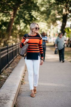 Orange & Blue Striped Sweater + Old Navy White Jeans | bows & sequins