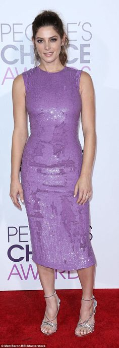 Gorgeous and glam! Ashley Greene was a vision in a shimmery lilac pencil dress with silver heels