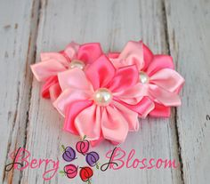 Satin Two Tone Ribbon Flower with Pearl  by BerryBlossomSupplies