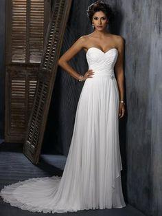Classic Strapless Sweetheart Chiffon Sheath Wedding Dress