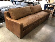 Just delivered to Menominee , MI! This Julien Slope Arm Leather Sofa is impressive at 120 inches long and 42 inches in overall depth, dressed in Italian Brentwood Tan, a leather from the same tannery as our popular Brompton and Berkshire leathers. Read More: http://bit.ly/2K97tMu Shop the Julien: http://bit.ly/2lqBxFj