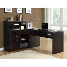 @Overstock.com.com - Cappuccino L-shaped Desk - Freshen up your work space with this wooden space saver desk. Its L shape makes a stylish, professional statement and it features ample storage options for business essentials, a spacious desk for working and a classic cappuccino finish.  http://www.overstock.com/Home-Garden/Cappuccino-L-shaped-Desk/6218274/product.html?CID=214117 $369.00