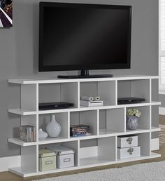 Contemporary Hollow-Core 12''W x 32''H Horizontal or Vertical Etagere - White, I-2596 by Monarch Specialties | BizChair.com
