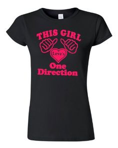 Amazon.com: This Girl Loves Heart One Direction Black w/ Neon Pink Women's T-Shirt Tee: Clothing