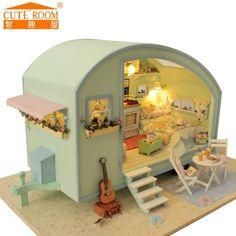 Casas De Boneca de Madeira DIY Casa de Bonecas Em Miniatura de Móveis casa de bonecas Kit Brinquedos para crianças boneca de Presente de viagem no Tempo casas A-016