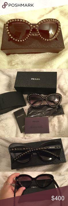 74fb6ff82e28 NWB Prada cat eye sunnies Rare Prada cat eye sunglasses styled with silver  spikes along frame