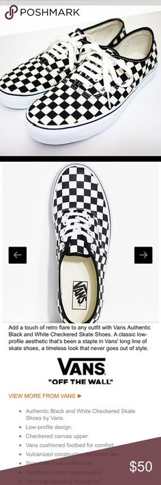 681aa3bb02 NEW VANS Authentic Black   White Checkered Shoes NWT