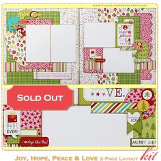 PaisleysandPolkaDots.com Joy, Hope, Peace and Love 2-page Scrapbook Layout Kit complete with instructions $16.00