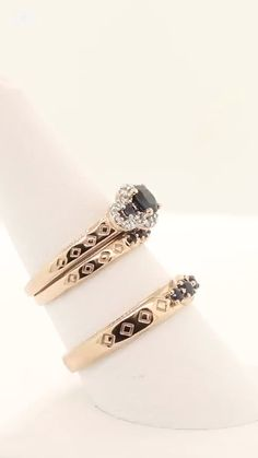 The significance of the 3 stones in a trilogy ring represents the remembrance of the past, living in Rose Gold Wedding Jewelry, Sapphire Wedding Rings, Rose Gold Engagement Ring, Matching Wedding Rings, Couple Rings, Blue Sapphire, Diamond Jewelry, Jewels, Heavenly