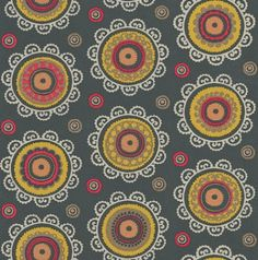 Suzani (314013) - Eijffinger Wallpapers - A small medallion motif design with pretty circles in a range of colours – shown here in peach, red and lime green on a deep charcoal grey background. Paste the wall. Please request a sample for true colour match.
