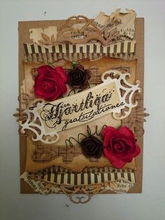 SARI HÄNNINEN - THE NORSU GIRL CRAFTS A vintage grunge inspired card with lots of layers...