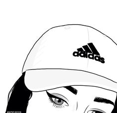 girl, adidas, and outline image