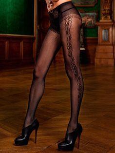 Zwarte panty met des