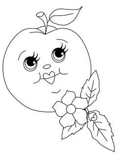 Cartoon Apple With Faces Coloring Food Face Sheets