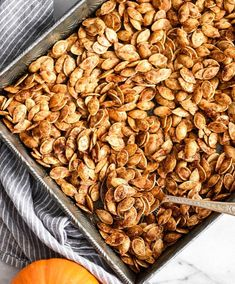 Homemade Roasted Cinnamon Sugar Pumpkin Seeds Recipe! Don't throw away the seeds when you carve pumpkins this year! Save them and make this recipe for the perfect sweet and salty fall snack! Vegan, gluten-free and dairy-free! and paleo-friendly! #pumpkin #pumpkinseeds #homemade #healthy #recipe #glutenfree #dairyfree #vegan #cinnamonsugar #paleo Cinnamon Sugar Pumpkin Seeds, Pumpkin Seed Recipes, Dairy Free Recipes, Vegetarian Recipes, Cooking Recipes, Gluten Free, Yummy Healthy Snacks, Healthy Recipes, Bon Appetit