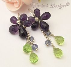 Items similar to SALE - 20 Percent OFF-Violet Floral-Fine\/sterling silver,amethyst,topaz and tanzanite dangle earrings on Etsy
