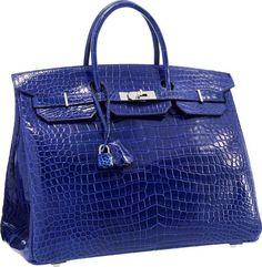 Hermes 40cm Shiny Blue Electric Porosus Crocodile Birki