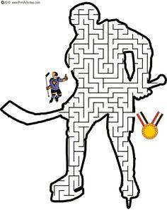 Hockey Maze: Guide the hockey player thru the maze to become a winner. Hockey Tournaments, Hockey Players, Hockey Birthday Parties, Hockey Party, Olympic Idea, Olympic Games, Hockey Girls, Hockey Mom, Infant Activities