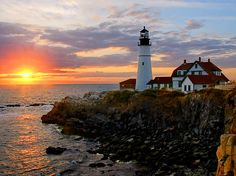 Portland Head Light at Sunset - Photo by: Richard Morin  Head to Fort Williams Park in Cape Elizabeth to get a lobster roll at Bite Into Maine.