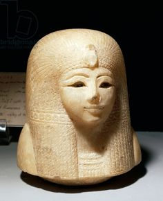 Canopic jar lid representing head of queen Tuya, wife of Seti I and mother of Ramesses II. Egypt, Luxor, Ancient Egypt Museum.