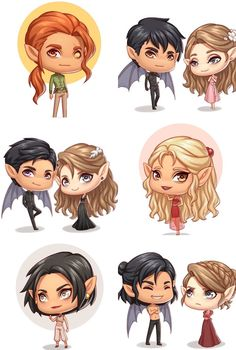 MY BABIES! If I'm not mistaken, from top to bottom, left to right, it's Lucien Azriel Elain Rhys Feyre Mor Amren Cassian Nesta Throne Of Glass Books, Throne Of Glass Series, A Court Of Wings And Ruin, A Court Of Mist And Fury, Fanart, Chibi, Saga, Feyre And Rhysand, Sarah J Maas Books