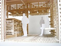 Architecture Model made of wooden sticks. Ramen, Architecture Model Making, Market Stalls, Sticks, Cube, 3d Printing, Building, Wood, Furniture