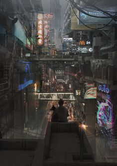 Siam Cyberpunk by Jirakiat Chuaduangpui Arte Cyberpunk, Cyberpunk Aesthetic, Cyberpunk City, City Aesthetic, Futuristic City, Futuristic Architecture, Fantasy Landscape, Fantasy Art, Sci Fi City