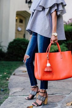 I love these shoes! And that bag color is amazing!! not a fan of those ruffles on the top though. - women bags 2016, side bags for ladies, bags in online *sponsored https://www.pinterest.com/bags_bag/ https://www.pinterest.com/explore/bags/ https://www.pinterest.com/bags_bag/messenger-bags/ https://www.cuyana.com/shop/bags.html