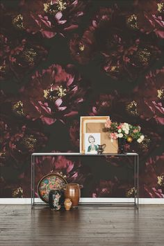 Priced per Square Foot / Minimum order is 35 square feet / All orders under  200 square feet incur $75 setup fee  Always inspired by Frida Kahlo, these deep red peonies are part of Ashley's  Frida series. The flowers are grandiose in scale and deep and mysterious  in color. Ashley also kept h