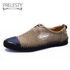 Men Split Leather Slip On Shoes
