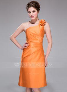 Bridesmaid Dresses - $99.99 - Sheath One-Shoulder Knee-Length Satin Bridesmaid Dress With Ruffle Flower(s) (007037244) http://jjshouse.com/Sheath-One-Shoulder-Knee-Length-Satin-Bridesmaid-Dress-With-Ruffle-Flower-S-007037244-g37244?ver=1