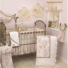 Decorate a sweet, sophisticated nursery with the Cotton Tale Designs Lollipops and Roses 7 Piece Crib Bedding Set . This light pink bedding set is.