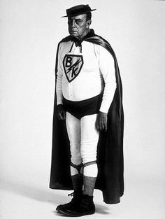 "Buster Keaton as ""Superman"" for a U.S. Steel advertisement, 1964."