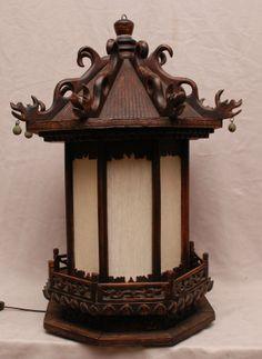 chinese wooden lanterns | Chinese wood lantern, electrified : Lot 348A