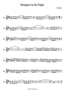 diegosax: Strangers in the night de Frank Sinatra (Extraños en la noche). Partitura de Saxofón y flauta de Extraños en la noche. Acordes de la Banda Sonora de Espías sin acción. Free Clarinet Sheet Music, Easy Piano Sheet Music, Piano Music Notes, Music Sheets, Strangers In The Night, Saxophone Notes, Bass Clarinet, Dream Music, Trumpets