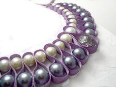 Beaded ribbon collar necklace. Lilac ribbon by AlyxAndreaDesign, $37.00