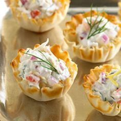 Phyllo Cup Crab Appetizers with Cream Cheese - printable recipe http://thegardeningcook.com/phyllo-cup-crab-appetizers/