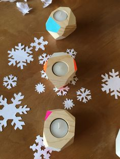 Ideas for Christmas. Candle holders, designed, handmade and decorated by Wood&cut in Florence, Italy
